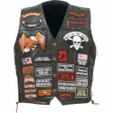 Diamond Plate Men's Leather Vest w/42 Patches for $37 + free shipping
