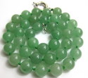 10mm Natural Green Chinese Jade Necklace for $10 + free shipping