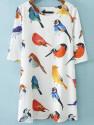 SheIn Women's Birds Pattern Loose Dress for $15 + free shipping