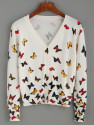 SheIn Butterfly Print V-Neck Cardigan for $15 + free shipping