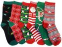 6 Pairs of Women's Christmas Pattern Socks for $10 + free shipping