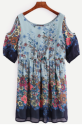 SheIn Women's Floral Cold Shoulder Dress for $14 + free shipping