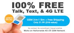 100% Free Service 4G SIM Kit for FreedomPop $1