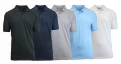 5 Men's Short-Sleeve Pique Polo Shirts for $40