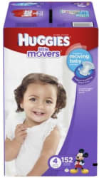 152 Huggies Little Movers Size 4 Diapers for $20
