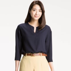 Uniqlo Women's Rayon 3/4-Sleeve Blouse for $10