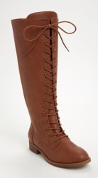 Faux Leather Women's Lace Up Knee-High Boots $56