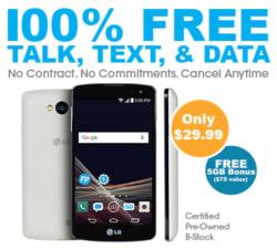 100% Free Service Refurb LG Tribute Phone $30