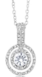 Cubic Zirconia Double Halo Drop Necklace for $6