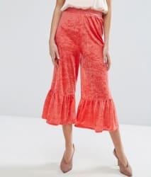 Asos Women's Velvet Crop Pants with Frill Hem $15