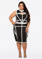 Ashley Stewart Women's Peekaboo Bandage Dress $36