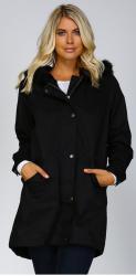 Women's Cotton Fur Trim Hooded Coat for $32