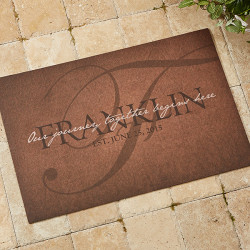 The Heart Of Our Home Personalized Doormat for $20
