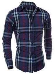 Gamiss Men's Color Block Plaid Slimming Shirt $8