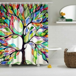 Colorful Tree Polyester Shower Curtain for $7