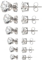 6 Pairs of Cubic Zirconia Stud Earrings for $8