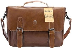 Berchirly Vintage PU Leather Briefcase for $28