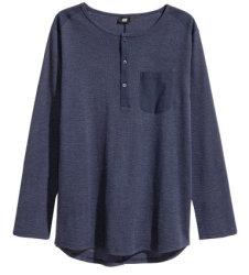 H&M Men's Organic Cotton Jersey Henley Shirt $6