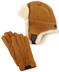 Ugg Men's Sheepskin Trapper Hat/ Gloves Set $153