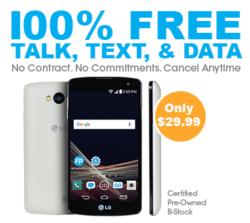 100% Free Service w/Refurb LG Tribute Phone