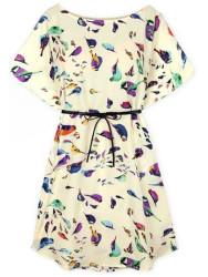 SheIn Women's Batwing Birds Print Shift Dress