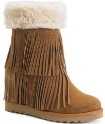 Madden Girl Women's Sleet Fringe Wedge Boots