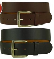 Men's Solid Leather Belt 2-Pack for $7