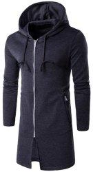 Men's Hooded Longline Zip-Up Hoodie for $16