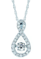 1/2-TCW Moving Diamond Pendant in 14K White Gold
