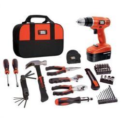 Black & Decker 18V Cordless Drill + 64-Pc. Project Tool Kit