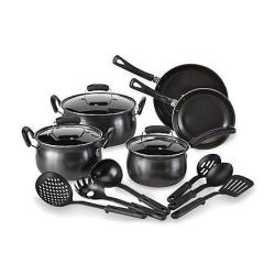 Essential Home Nonstick Cookware Set in Black or Red