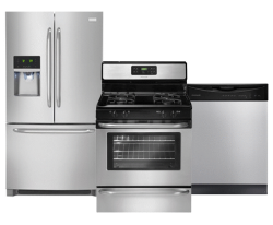 Frigidaire Refrigerator, Gas Range, & Dishwasher Suite in Stainless Steel