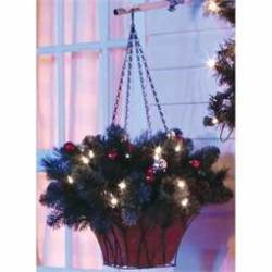 "22"" Brookhaven Cordless LED Pre-Lit Hanging Basket"