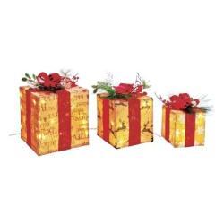 3-Pc. Pre-Lit Burlap Gift Boxes