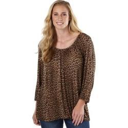 Michael Kors Women's Leopard Knit Peasant Top