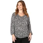Michael Kors Women's Zebra Knit Peasant Top