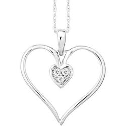 Diamond Accent Heart Pendant in 10K White Gold