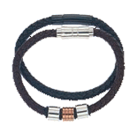 Leather Bracelets w/ Stainless Steel Box Set