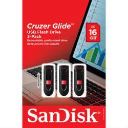 SanDisk Cruzer Glide 16GB USB Flash Drive w/ Web Storage 3-Pk.