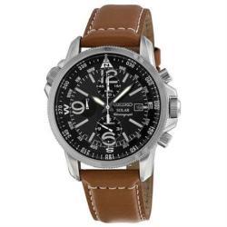 Seiko Men's SSC081 Solar Chronograph Compas Black Dial Watch