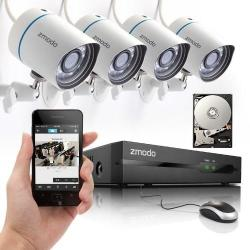 ZMODO 4CH 720P HD NTWRK SPOE NVR SEC SYS CAM