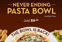 Olive Garden Never Ending Pasta Bowl from $10