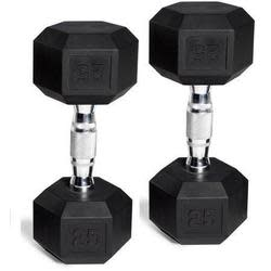 2 Cap Barbell Rubber-Coated Hex Dumbbells